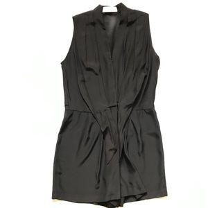 Amanda Uprichard Silk Romper Medium Black Shorts